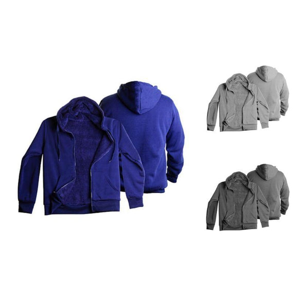 Men's Heavyweight Sherpa-Lined Fleece Hoodie - 3 Pack-Navy/Grey/Charcoal-XXL-Daily Steals
