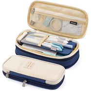 Large Folding Pen and Pencil Supplies Case-Navy Blue-