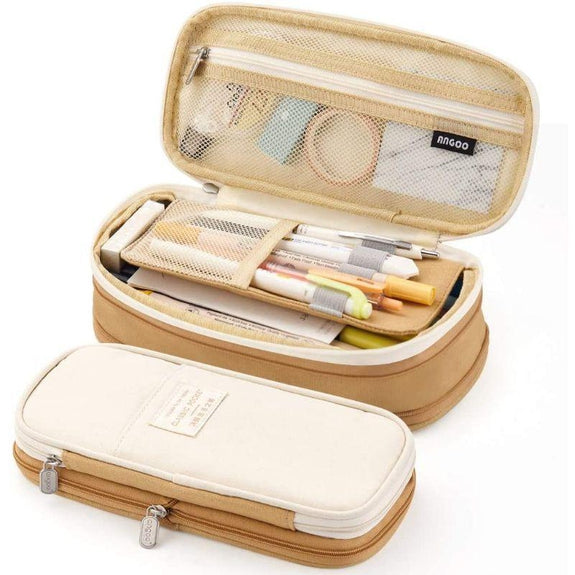 Large Folding Pen and Pencil Supplies Case-Khaki Tan-