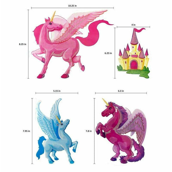 Large Unicorn 3D Wall Decal Stickers Set Of 4 Stickers-