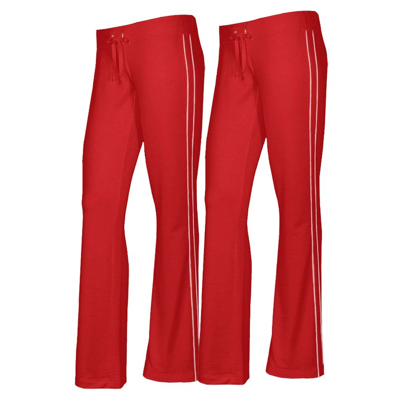 Women's French Terry Comfy Sweatpants - 1 or 2 Pack-Red + Red-2 Pack-XL-Daily Steals