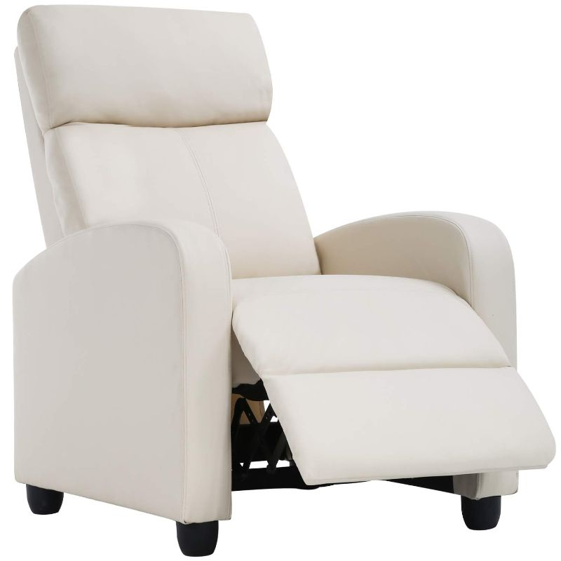 Leather or Fabric Wing-back Recliner Chair with Foot Extension-Beige-Fabric-Daily Steals