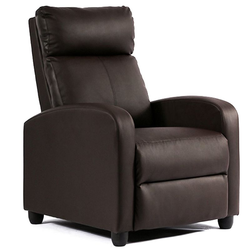 Leather or Fabric Wing-back Recliner Chair with Foot Extension-Brown-Leather-Daily Steals