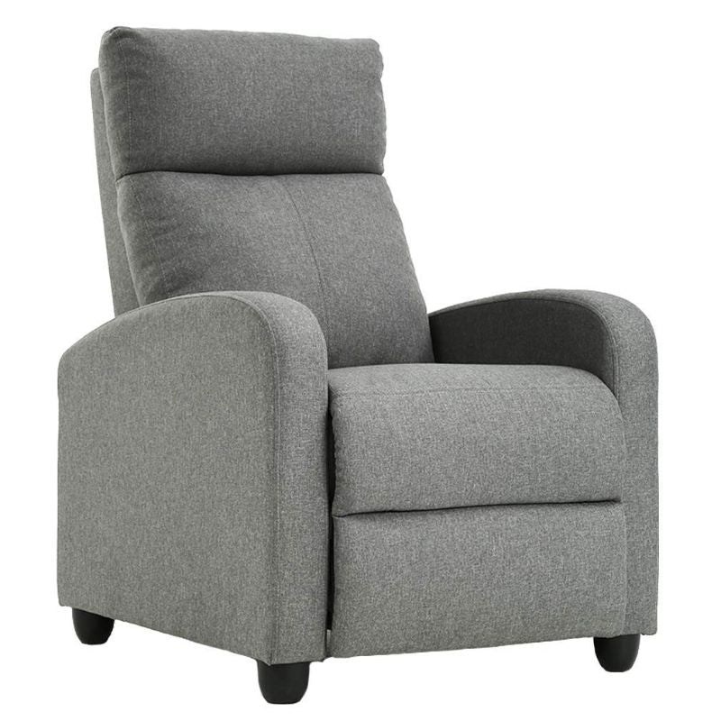 Leather or Fabric Wing-back Recliner Chair with Foot Extension-Grey-Fabric-Daily Steals