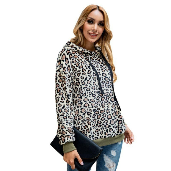 Leopard Print Fleece Hoodie-Daily Steals