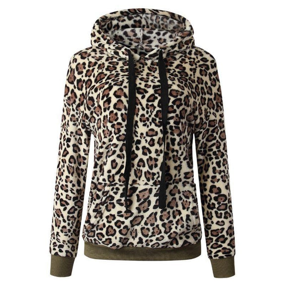 Leopard Print Fleece Hoodie-Coffee-Small-Daily Steals