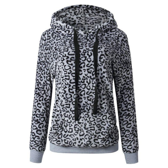 Leopard Print Fleece Hoodie-Grey-Medium-Daily Steals