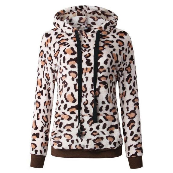 Leopard Print Fleece Hoodie-Khaki-Medium-Daily Steals