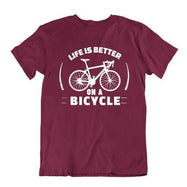 Daily Steals-Life Is Better on a Bicycle T Shirt-Men's Apparel-Maroon-Small-