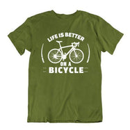 Daily Steals-Life Is Better on a Bicycle T Shirt-Men's Apparel-Military Green-Small-