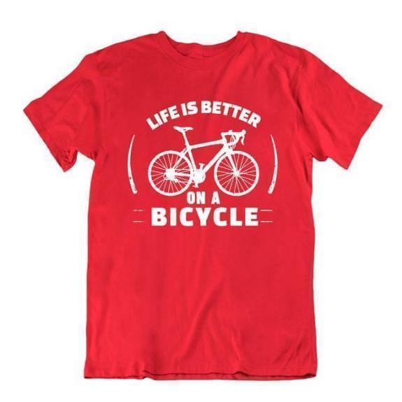 Daily Steals-Life Is Better on a Bicycle T Shirt-Men's Apparel-Red-Small-
