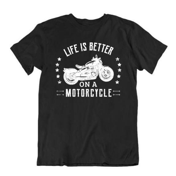 Daily Steals-Life Is Better on a Motorcycle T-Shirt-Men's Apparel-Black-Small-