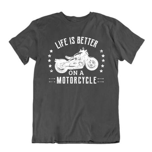 Daily Steals-Life Is Better on a Motorcycle T-Shirt-Men's Apparel-Charcoal-Small-