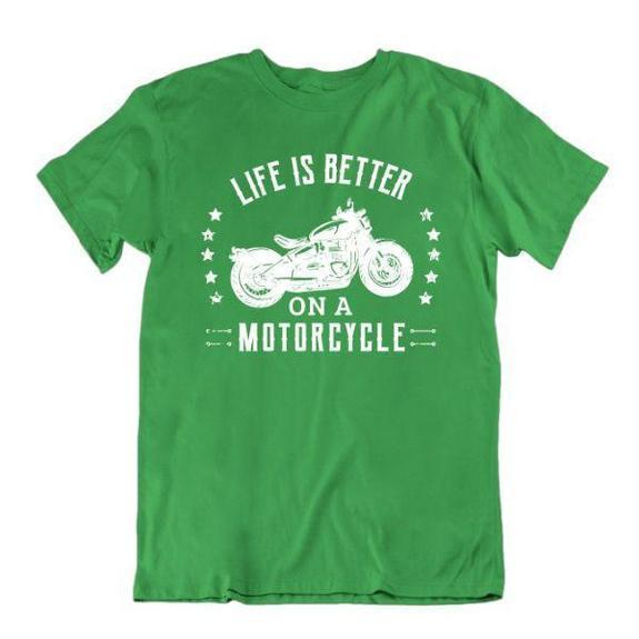 Daily Steals-Life Is Better on a Motorcycle T-Shirt-Men's Apparel-Kelly Green-Small-