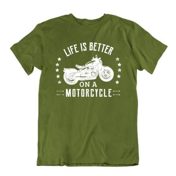 Daily Steals-Life Is Better on a Motorcycle T-Shirt-Men's Apparel-Military Green-Medium-