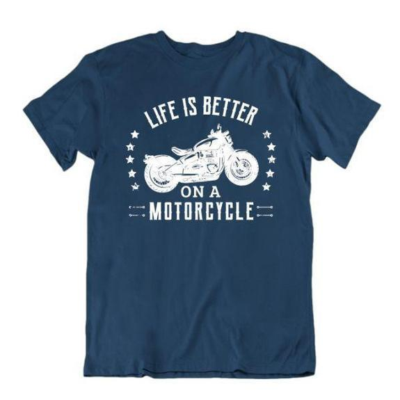 Daily Steals-Life Is Better on a Motorcycle T-Shirt-Men's Apparel-Navy Blue-Small-