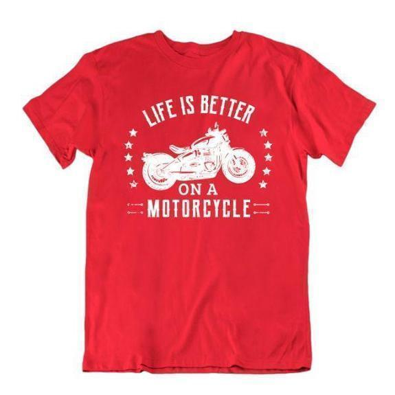 Daily Steals-Life Is Better on a Motorcycle T-Shirt-Men's Apparel-Red-Small-