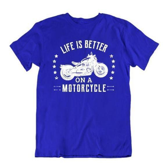 Daily Steals-Life Is Better on a Motorcycle T-Shirt-Men's Apparel-Royal Blue-Small-