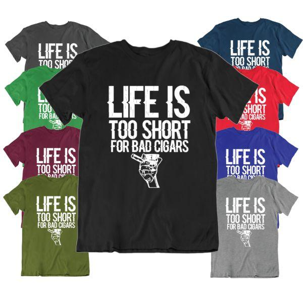 Daily Steals-Life Is Too Short For Bad Cigars T Shirt-Men's Apparel-Black-Medium-