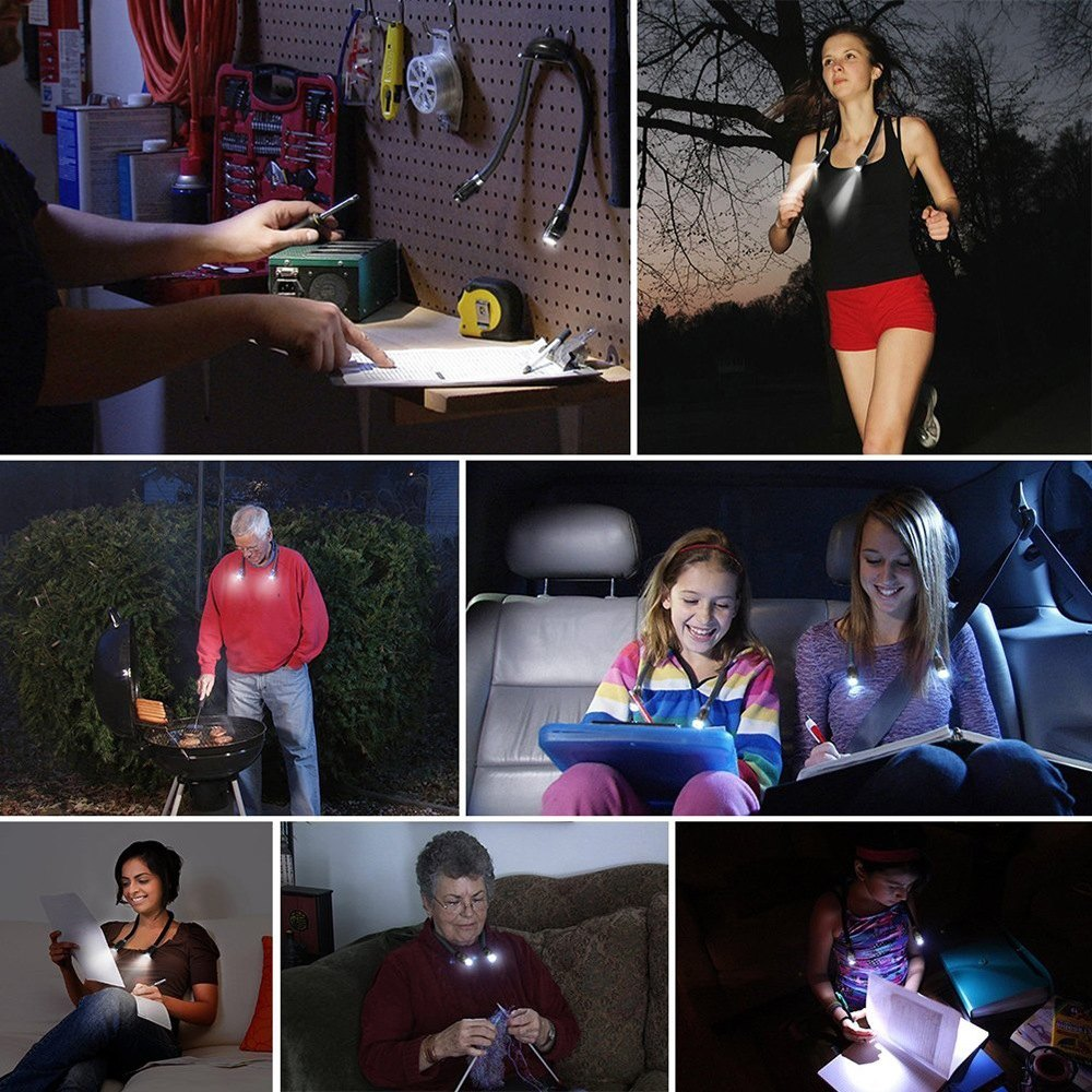 Hands-Free Flexible Dual Head LED Neck Lamp Flashlight-Daily Steals