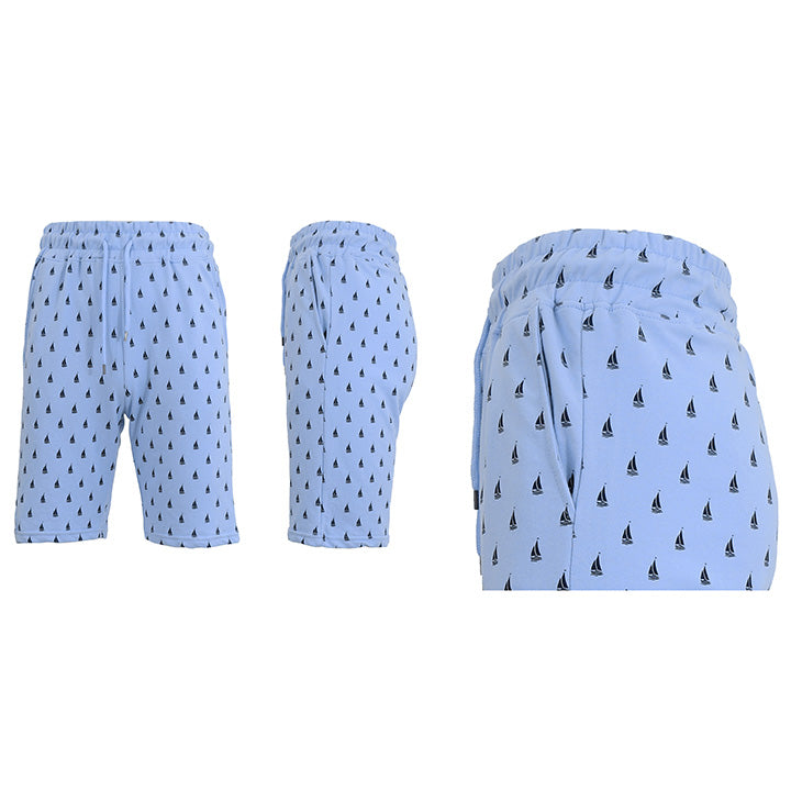 Men's Printed French Terry Shorts - Sizes S-2X-Light Blue Sailboats-2XL-Daily Steals