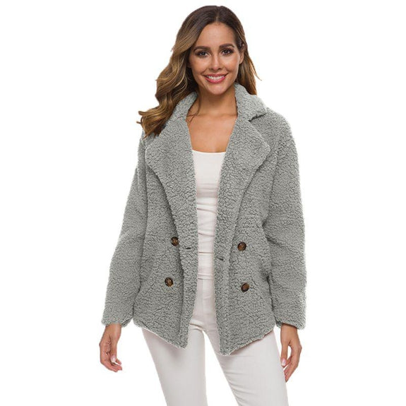 Soft Comfy Plush Pea Coat-Light Grey-Medium-Daily Steals