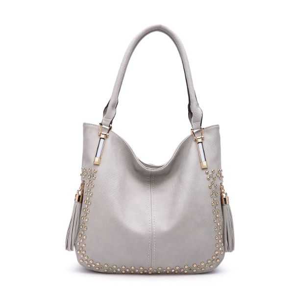MKF Collection Betsy Shoulder Bag by Mia K. Farrow-Light Grey-Studded-Daily Steals