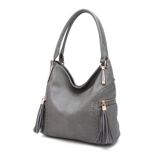 MKF Collection Betsy Shoulder Bag by Mia K. Farrow-Light Grey-Classic-Daily Steals