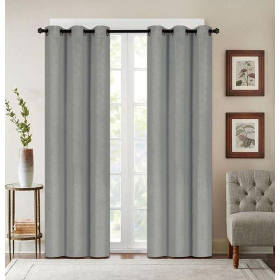 "Embossed Faux Silk 76""x63"" or 76""x84"" Grommet Window Panel Pair-LIGHT GREY-76'' X 63''-Daily Steals"