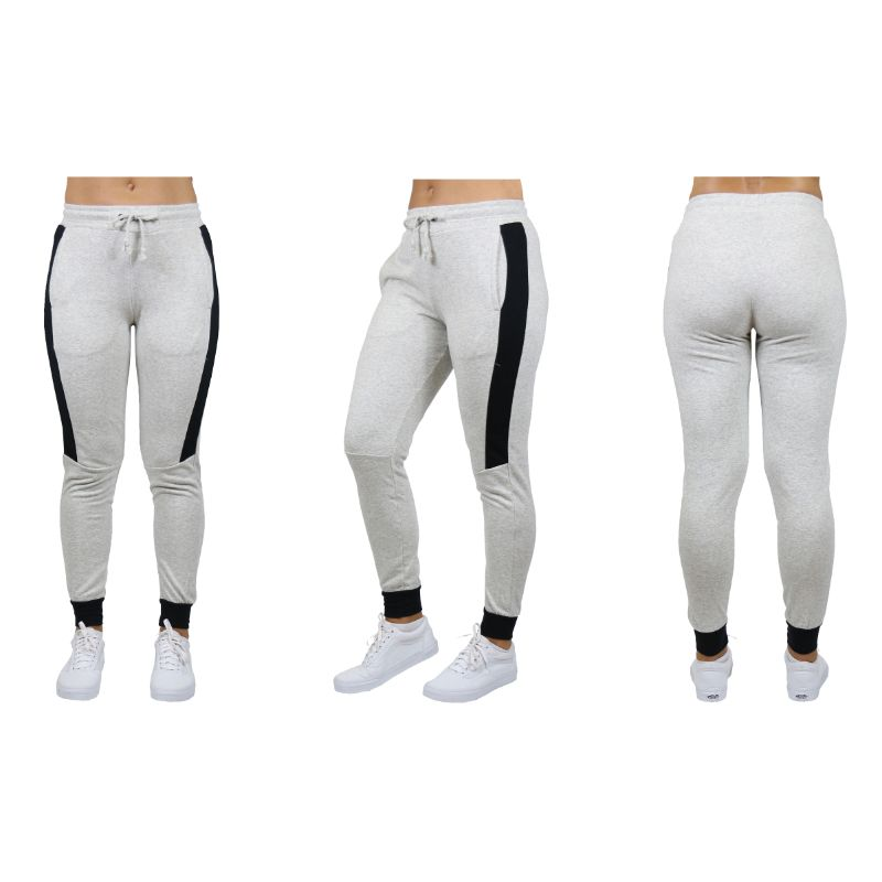 Women's Slim-Fit French Terry Joggers With Contrast Trim-Light Grey-Small-Daily Steals