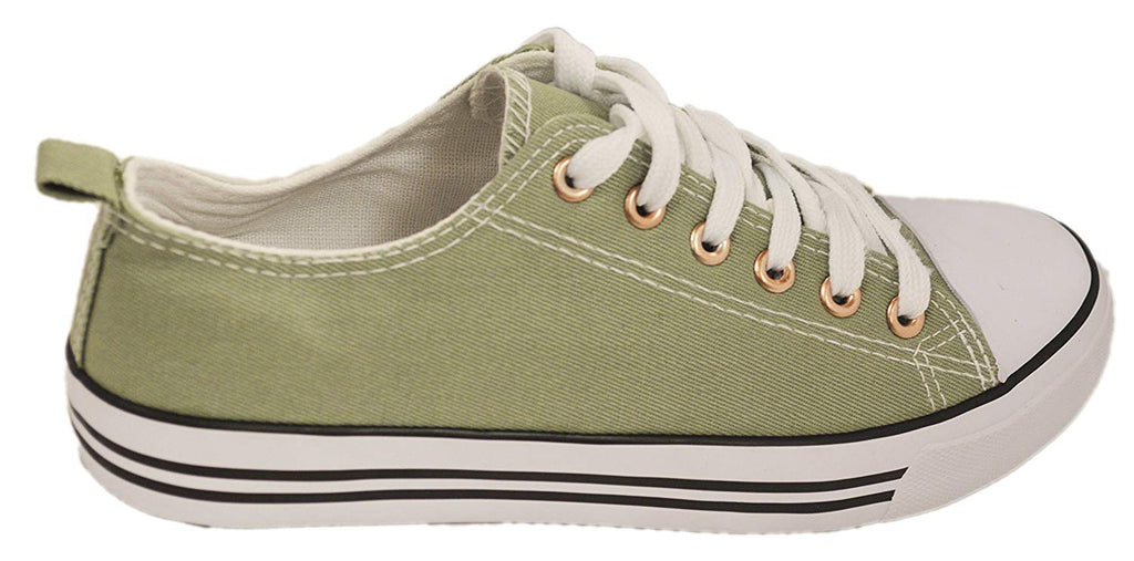 Women's Canvas Cap Toe Sneakers Low Top Shoes-Light Olive-6-Daily Steals