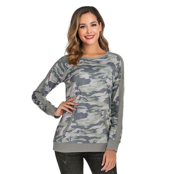 Lightweight Waffle Trim Pullover with Kangaroo Pocket-Camo-2X-Daily Steals