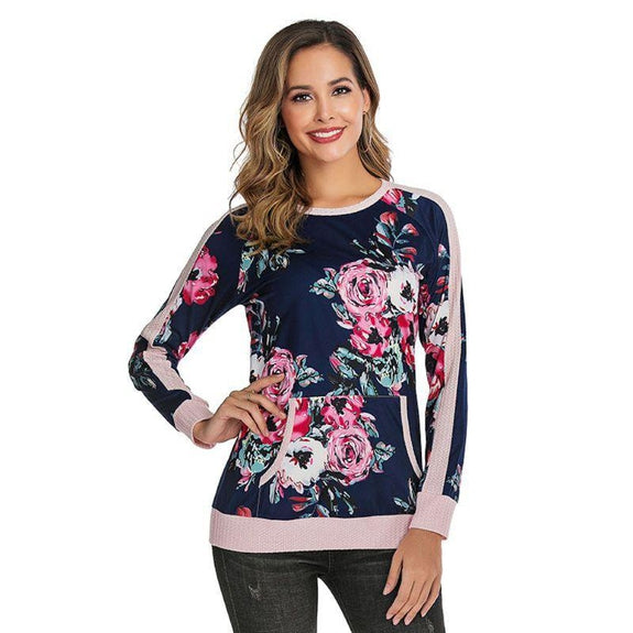 Lightweight Waffle Trim Pullover with Kangaroo Pocket-Floral-2X-Daily Steals