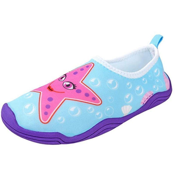 Lil' Fins Kids 3D Quick Dry Water Shoes-Pink/Blue-Starfish-1-2