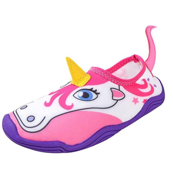 Lil' Fins Kids 3D Quick Dry Water Shoes-Pink/Purple-Unicorn-6-7