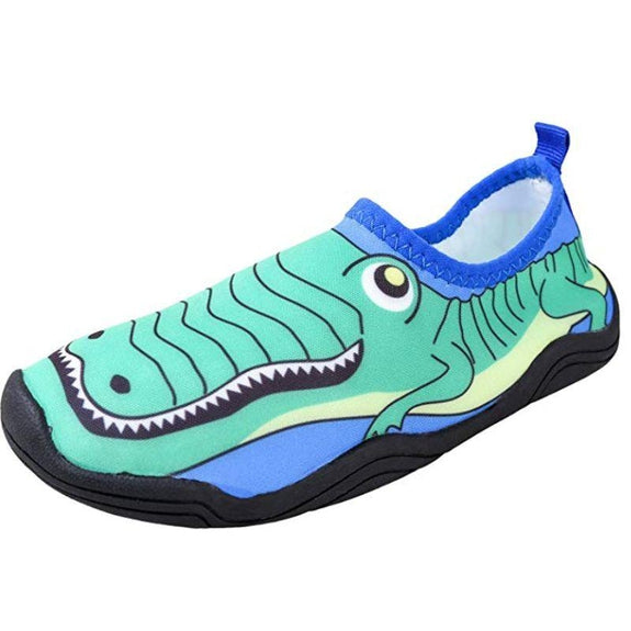 Lil' Fins Kids 3D Quick Dry Water Shoes-Green/Blue-Gator-10-11