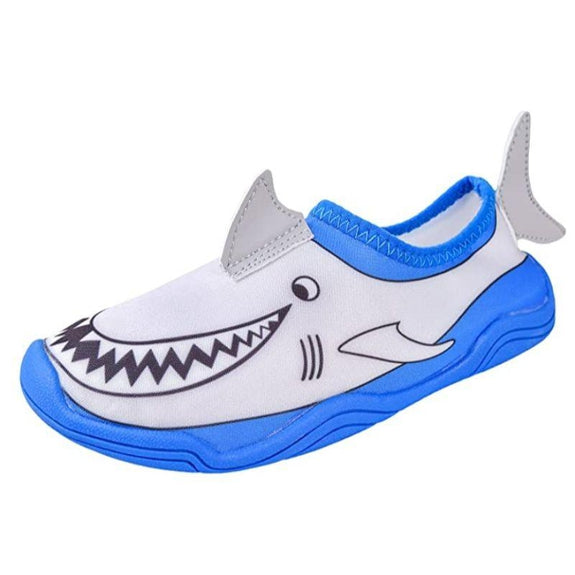 Lil' Fins Kids 3D Quick Dry Water Shoes-Gray/Blue-Shark-1-2
