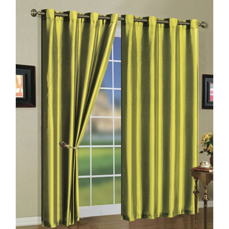 Set of Two Stylish Curtain Panels with Rod Grommets: 58 x 84 Inches-Lime Green-Daily Steals