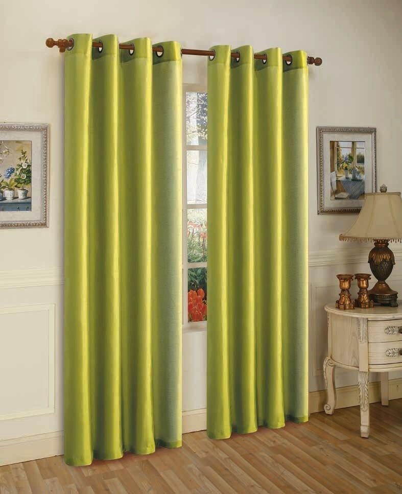 Mira Faux Silk Curtains with Bronze Grommets - 3 Panels-Lime Green-Daily Steals