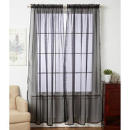 Linda Sheer Voile Curtain Panels - Various Colors - 4-Pack-BLACK-Daily Steals