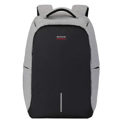 Laptop, Anti-Theft, TSA Ready Water and Cut Resistant Backpack, USB Connector, Link 39 by Swiss RUIGOR -Grey/Black