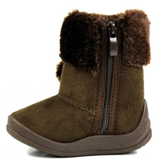 Little Girl's Bany Flat Pom Pom Ankle Boot-Camel-4-