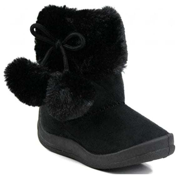Little Girl's Bany Flat Pom Pom Ankle Boot-Black-6-