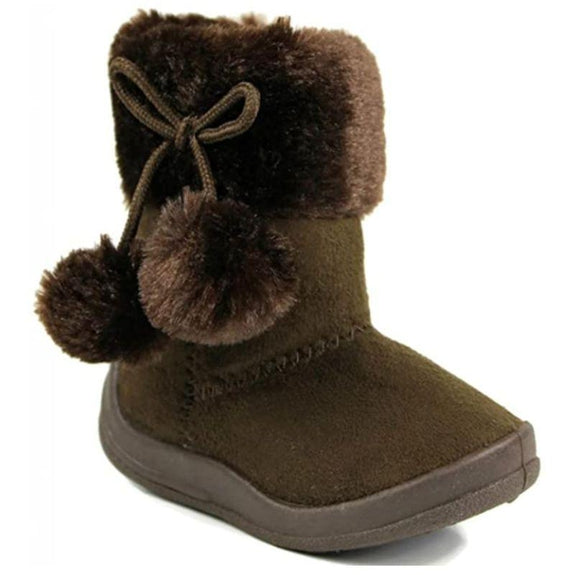 Little Girl's Bany Flat Pom Pom Ankle Boot-Brown-6-
