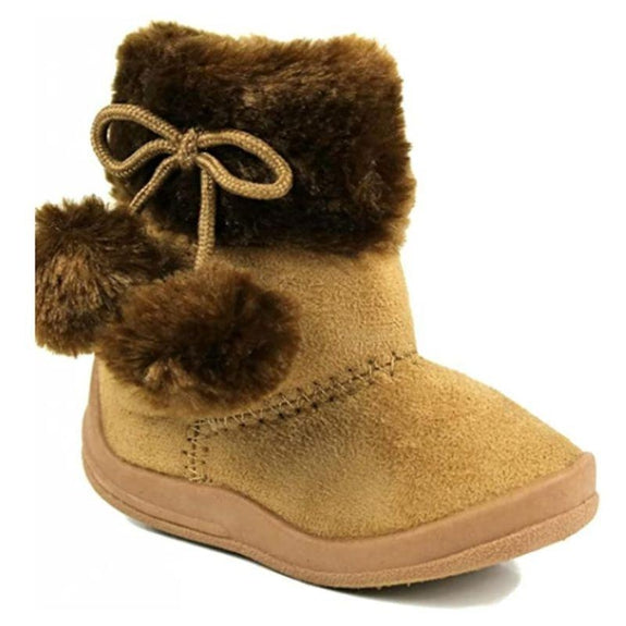 Little Girl's Bany Flat Pom Pom Ankle Boot-Camel-10-