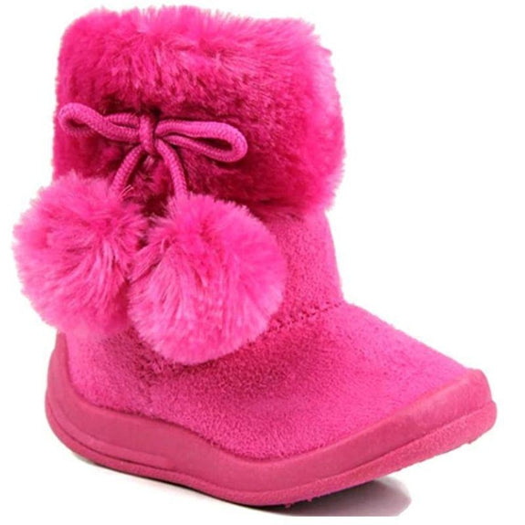 Little Girl's Bany Flat Pom Pom Ankle Boot-Hot Pink-10-