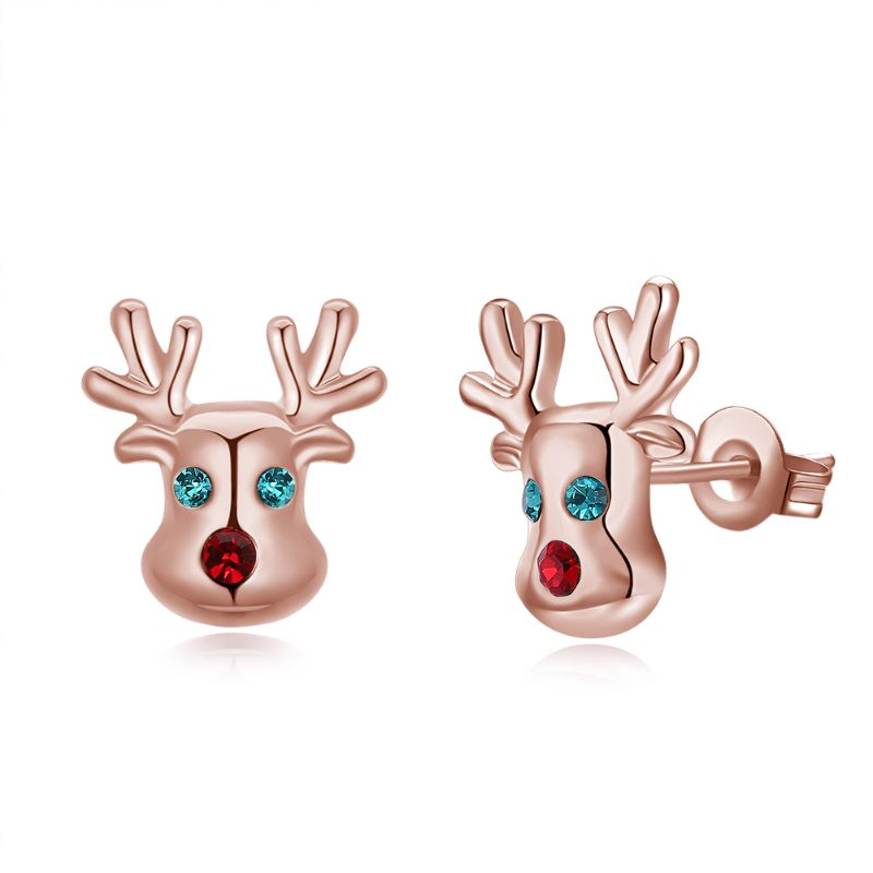 Rudolf The Reindeer Studs in 14K Gold Plating Made with Swarovski Elements-Rose Gold-Daily Steals
