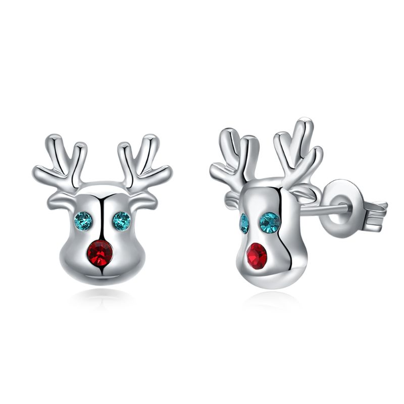 Rudolf The Reindeer Studs in 14K Gold Plating Made with Swarovski Elements-White Gold-Daily Steals