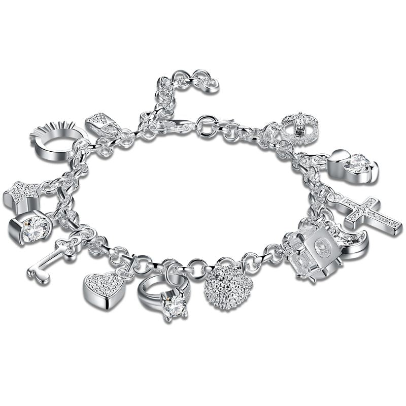 13 PC Charm Bracelet Plated in 18K White Gold-Daily Steals