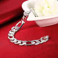 Figaro Chain Bracelet Plated in 18K White Gold-Daily Steals